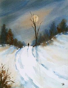 Inverno #21 (Pittura), 24x31 cm da Tito Fornasiero Dipinto ad acquerello. Watercolor painting.