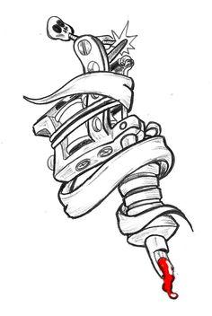 Skull Tattoo Design, Tattoo Design Drawings, Tattoo Sketches, Drawing Sketches, Tattoo Designs, Tattoo Machine, Machine Logo, Hand Tattoos, Sleeve Tattoos
