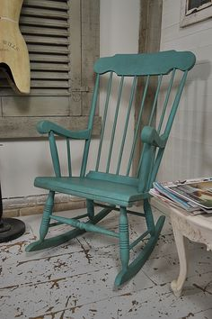 While away the hours with a good book on our shabby chic spindleback rocking chair painted in Annabell Duke Turquoise. We've painted with a stiple-effect, creating texture and aging with dark wax. http://www.thetreasuretrove.co.uk/seating/shabby-chic-spindleback-rocking-chair