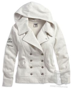 Harley-Davidson® Womens Double Breasted Fleece Off White Activewear Jacket