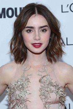 lilly collins, medium dark hair. medium hair styles