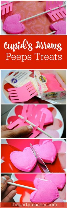 So cute for a Valentine's Day classroom treat - Cupid's Arrows Peeps Treats by The Party Teacher | http://thepartyteacher.com/2014/02/11/tutorial-easy-peep-sy-valentines-day-classroom-treat/