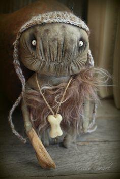 SOLD Cavedweller Primitive man stuffed art doll monsters