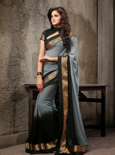 USD 64.35 Grey Chiffon Border Work Party Wear Saree  35895