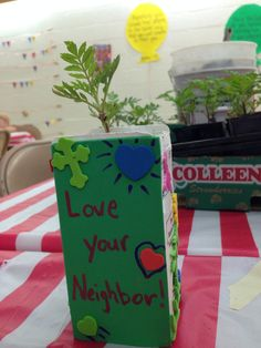 VBS Everywhere fun fair. Love your Neighbors potted plants! Who Is My Neighbor, Love Your Neighbour, Vbs Crafts, Fun Fair, Sunday School, Potted Plants, Bible, Craft Ideas, Vacation