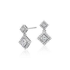 Diamond Princess Halo Drop Earrings 14k White Gold (3/4 ct. tw.)