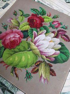 Большой античный ручная роспись графике Берлин Woolwork - Цветочный букет | ибее