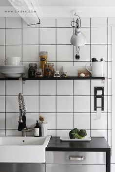 LOVE the tile with dark gray grout!