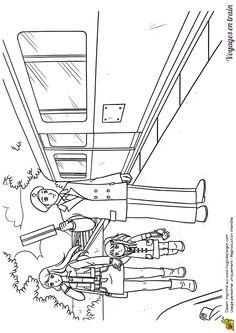 Dessin d'un agent d'escale avec des passants sur le quai, à colorier