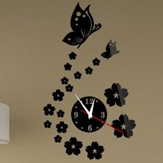 Toprate(TM) Beautiful Butterfly and Flowers Wall Clock Fashion Mirror Wall Clock Removable DIY Acrylic Mirror Wall Decal Wall Sticker Decoration (Black) -- Awesome product. Click the image : home diy wall Wall Clock Sticker, Mirror Wall Clock, 3d Mirror Wall Stickers, Wall Clock Design, Diy Mirror, Wall Clocks, Wall Decal, Mirror Art, Wall Art
