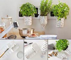 Da un toque súper original y personalizado a tu cocina o a cualquier otro espacio, creando macetas recicladas. #Ideas #DIY #Bricolaje