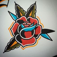 American Traditional Rose, Traditional Roses, Traditional Tattoo Flash, Rose Drawing Tattoo, Tattoo Sketches, Tattoo Drawings, Arm Tattoo, Sleeve Tattoos, Tattoo Ink