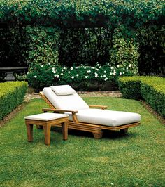 The Palazzio Chaise Lounge & Teak Side Table with Stone Table Top from Giati