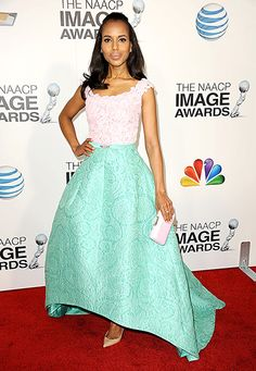 Sorbet delight! Kerry rocked a sweet lace color block design with pink and green to the NAACP Image Awards in 2013.