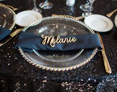 Place Card Names Wood Plate Name Cutout Wedding by ZCreateDesign