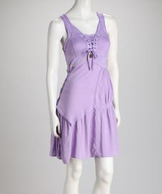 Take a look at this Purple Lace-Up Dress by Grifflin Paris on #zulily today!
