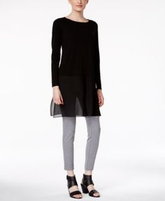 Eileen Fisher Long-Sleeve Chiffon-Hem Tunic