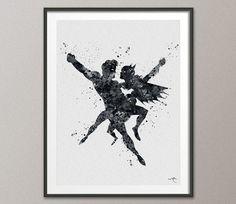 Nightwing and Batgirl Watercolor Print Wedding Gift Art Super Hero Couple Love Wall Decor Art Geek Nerd Comic Wall Hanging [NO 628]