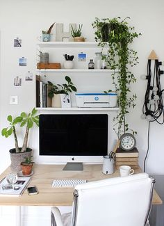 An organised home office space complete with stylish metal shelving, monochrome palette and plenty of fresh greenery.