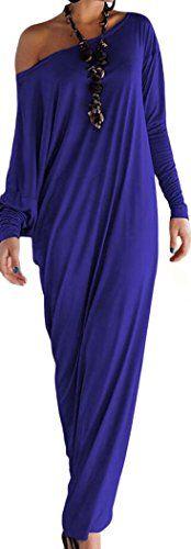 PEGGYNCO Christmas Womens Athene Style Elegant Jersey Maxi Dress(Blue)