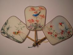 3 Silk Hand Painted Fans Bamboo Handles by PJsParadise on Etsy, $24.00