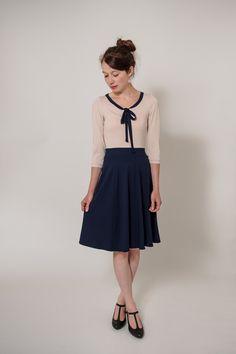 """Knielange Kleider - Kleid """"Sonntagskleid Nachtblau"""" - Schluppenkleid - ein Designerstück von Ave-evA bei DaWanda"""