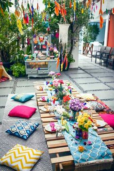 The colors and details in this Boho Tribal Birthday Party are insane! Kara's Party Ideas features the best in boho party inspiration! Garden Parties, Outdoor Parties, Outdoor Fun, Outdoor Party Decor, Outdoor Spaces, Boho Garden Party, Garden Picnic, Backyard Parties, Outdoor Decorations