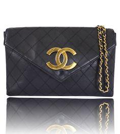 Chanel Black Lamb Skin Large Cross Body Shoulder Bag Vintage - Garo Luxury - Authentic Luxury Goods