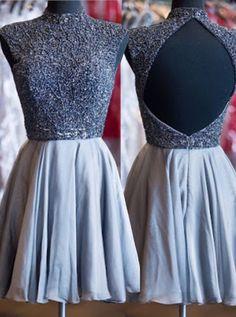 Stylish High Neck Open Back Short Grey Taffeta Homecoming Dress with Beading