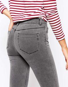 2778 = Серые джинсы ультраскинни с завышенной талией ASOS TALL Ridley
