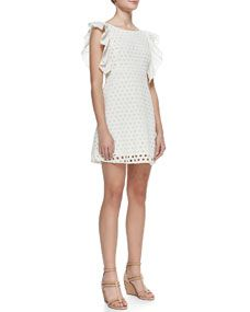 Lou Flutter-Sleeve Eyelet Dress