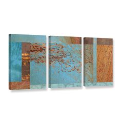 ArtWall 'Cora Niele's Blue Collage' 3-piece Gallery Wrapped Canvas Set