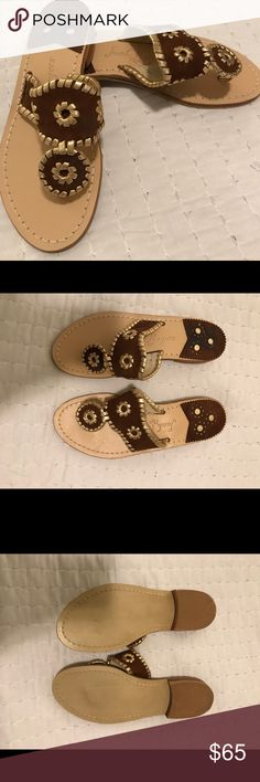 BRAND NEW! Jack Rogers Sandals, size 6 BRAND NEW! Jack Rogers size 6 Sandals. Brown and gold. Jack Rogers Shoes Sandals