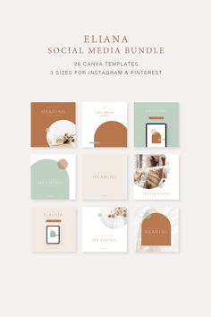 Do you struggle to create a cohesive feed across your Social media channels?   The Eliana Social Media Bundle Canva Templates created for the small business owner to help you customise easily in Canva, quickly to save you time & help you create a cohesive brand for your business. Includes 3 different size set-up for Instagram Story, Instagram Post & Pinterest - 28 different templates #pinteresttemplates #canvatemplates #socialmediatemplates #canvainstagramtemplates #canvapinteresttemplates Instagram Feed Layout, Instagram Square, Story Instagram, Instagram Post Template, Instagram Design, Free Instagram, Instagram Posts, Social Media Branding, Social Media Design