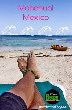 Visiting tourist town of Mahahual Mexico