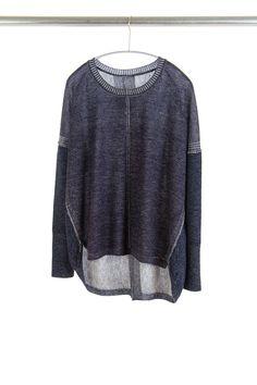Two Tone Sweatshirt, Navy/Ivory, 100% Fine Worsted Mongolian Cashmere | Paychi Guh
