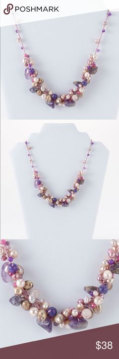 "NWT, Amethyst, Rose Quartz, Jade &  Pearl Necklace Feminine Amethyst, rose quartz, jade and freshwater pearl gemstone necklace with silk thread, lobster anti-tarnish rhodium plated lobster closure. Handmade. Length: 16"" + 2"" EXT. J. Dream  Jewelry Necklaces"