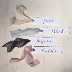 Handwritten custom modern calligraphy placecard with ribbon, hand torn deckled edges, wedding esc... Grey Wedding Theme, Our Wedding, Calligraphy Handwriting, Modern Calligraphy, All Names, First Names, Beautiful Lettering, Bridal Table, Ribbon Colors