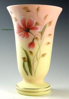 Fenton GARDEN SHADOWS on BURMESE Vase Connoisseur Col Lim Ed 22K Gold accents