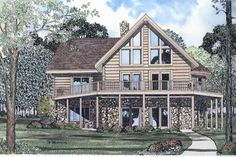 Log Style House Plans - 2137 Square Foot Home , 2 Story, 3 Bedroom and 2 Bath, 0 Garage Stalls by Monster House Plans - Plan 12-784