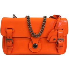 Pre-owned Ralph Lauren Black Label Ricky Patent Leather Clutch Bag (6,310 MXN) ❤ liked on Polyvore featuring bags, handbags, clutches, orange, orange purse, orange patent leather handbag, patent leather handbags, patent handbags and orange handbags