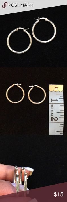 "Sterling Silver Hoop Earrings 1"" diameter. Sterling silver hoop earrings. Jewelry Earrings"