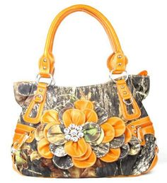Western Orange Camouflage Flower Rhinestone Fashion Purse - Handbags, Bling & More!
