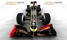 The 2012 Lotus E20 (the left half) v the 2013 E21 (the right half) - another unusual angle