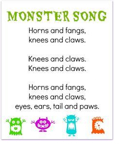 FREE printable monster finger play song for preschool Halloween Songs For Preschoolers, Halloween Activities, Halloween Songs Preschool, Halloween Poems For Kids, Halloween Rhymes, Halloween Ideas, Monster Activities, Monster Crafts, Kid Activities