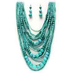 miles and miles of turquoise beads. Perfect statement necklace for summer… Fashion Jewelry Necklaces, Fashion Earrings, Beaded Jewelry, Jewelry Accessories, Fashion Accessories, Beaded Necklace, Jewelry Design, Jewlery, Crystal Jewelry