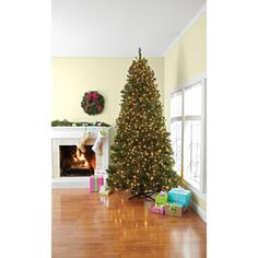 Better Homes and Gardens Pre-Lit 9' Lakeview Pine Artificial Christmas Tree with Pine Cone Decorations, Clear Lights