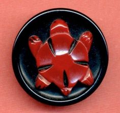 Bakelite Button...Carved TURTLE...Red On Black...Painted Trim