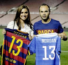 Andres Iniesta and Alex Morgan before International Champions Cup 2015 match between FC Barcelona and Los Angeles Galaxy at Rose Bowl on July 21, 2015 in Pasadena, California.