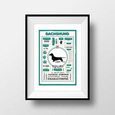 Dachshund Poster Dachshund Art Print Vintage by PaperPaintPixels